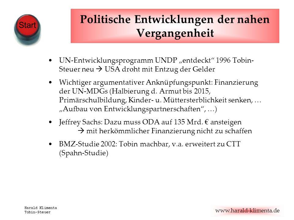 www.harald-klimenta.de Harald Klimenta Tobin-Steuer Politische Entwicklungen der nahen Vergangenheit UN-Entwicklungsprogramm UNDP entdeckt 1996 Tobin-