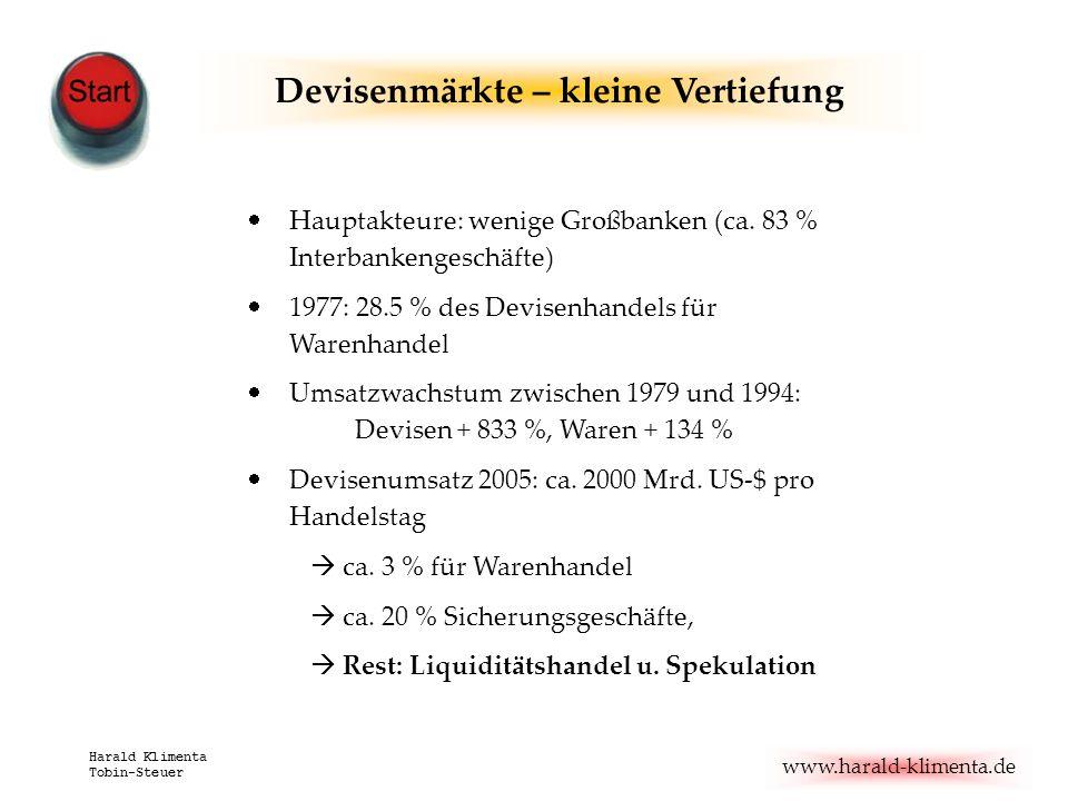 www.harald-klimenta.de Harald Klimenta Tobin-Steuer Devisenmärkte – kleine Vertiefung Hauptakteure: wenige Großbanken (ca. 83 % Interbankengeschäfte)