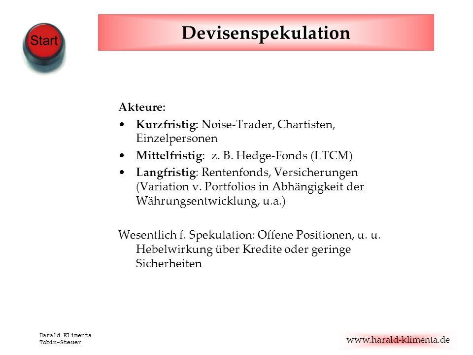 www.harald-klimenta.de Harald Klimenta Tobin-Steuer Devisenspekulation Akteure: Kurzfristig: Noise-Trader, Chartisten, Einzelpersonen Mittelfristig: z