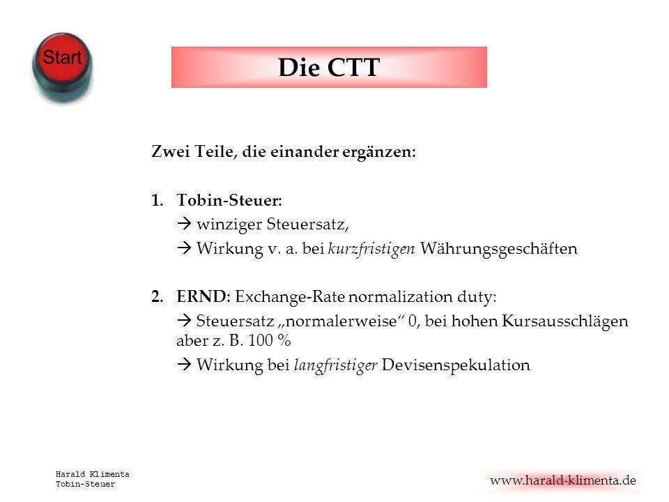www.harald-klimenta.de Harald Klimenta Tobin-Steuer Die CTT Zwei Teile, die einander ergänzen: 1.Tobin-Steuer: winziger Steuersatz, Wirkung v. a. bei