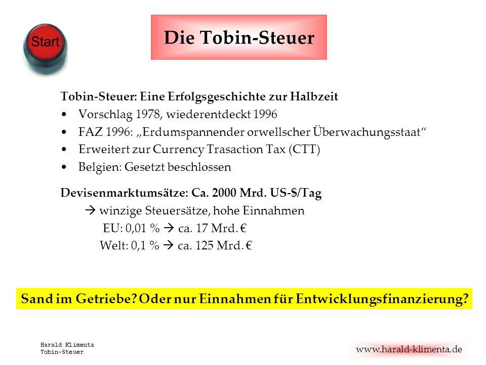 www.harald-klimenta.de Harald Klimenta Tobin-Steuer Die Tobin-Steuer Tobin-Steuer: Eine Erfolgsgeschichte zur Halbzeit Vorschlag 1978, wiederentdeckt