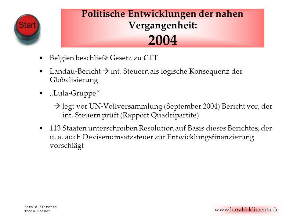 www.harald-klimenta.de Harald Klimenta Tobin-Steuer Politische Entwicklungen der nahen Vergangenheit: 2004 Belgien beschließt Gesetz zu CTT Landau-Ber