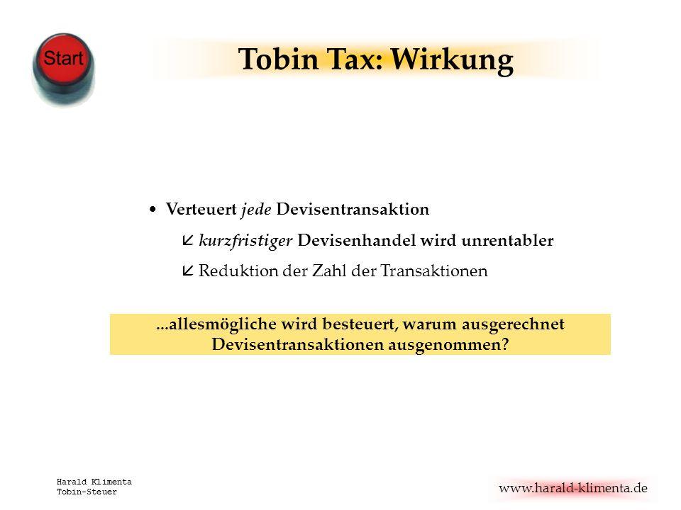www.harald-klimenta.de Harald Klimenta Tobin-Steuer Verteuert jede Devisentransaktion å kurzfristiger Devisenhandel wird unrentabler å Reduktion der Z