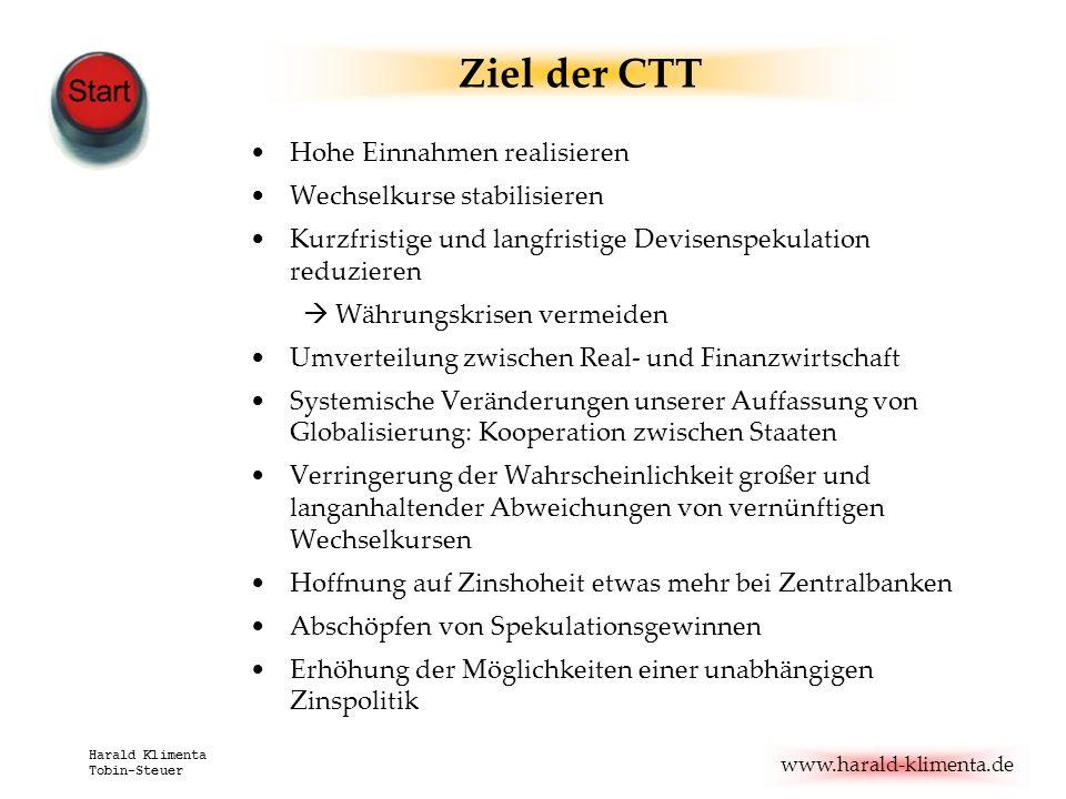 www.harald-klimenta.de Harald Klimenta Tobin-Steuer Ziel der CTT Hohe Einnahmen realisieren Wechselkurse stabilisieren Kurzfristige und langfristige D