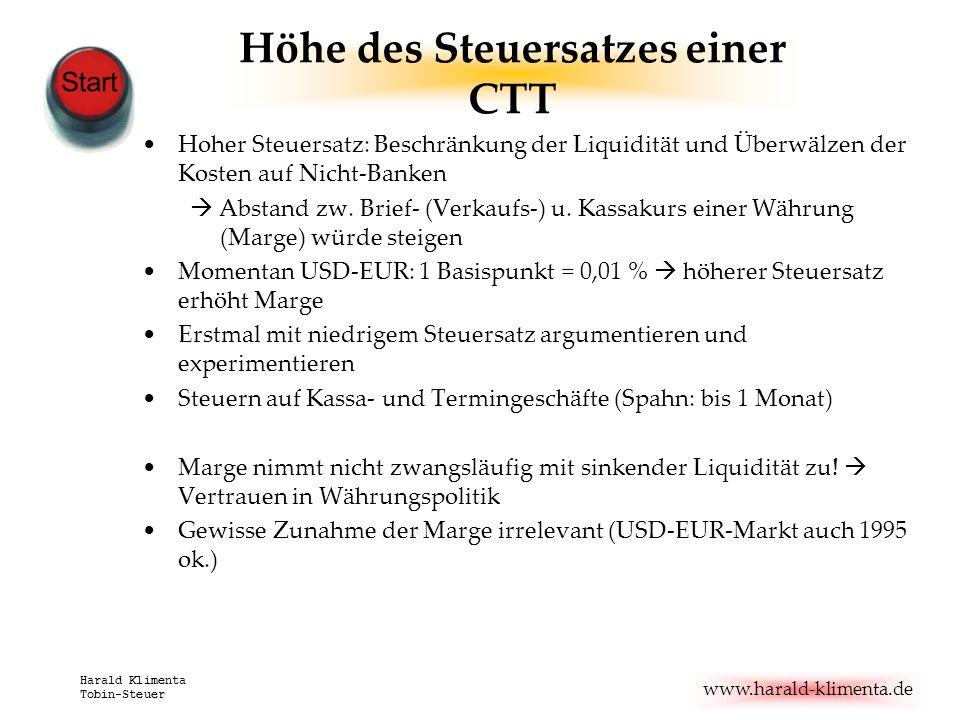 www.harald-klimenta.de Harald Klimenta Tobin-Steuer Höhe des Steuersatzes einer CTT Hoher Steuersatz: Beschränkung der Liquidität und Überwälzen der K