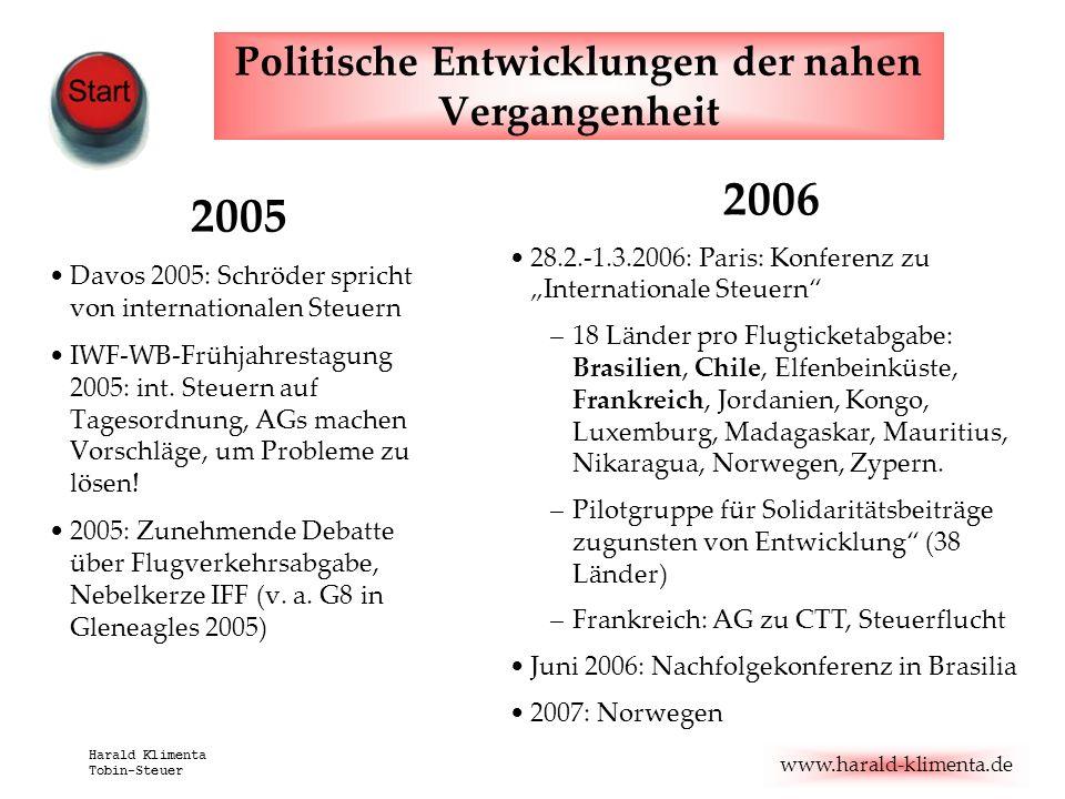 www.harald-klimenta.de Harald Klimenta Tobin-Steuer Politische Entwicklungen der nahen Vergangenheit 2005 Davos 2005: Schröder spricht von internation