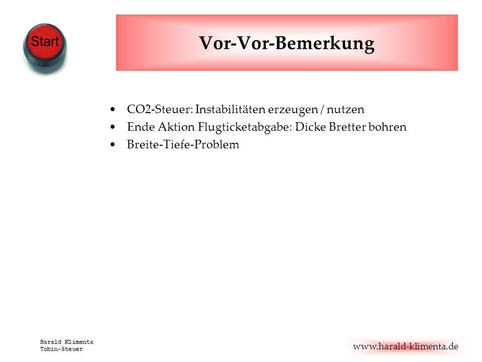 www.harald-klimenta.de Harald Klimenta Tobin-Steuer Vor-Vor-Bemerkung CO2-Steuer: Instabilitäten erzeugen / nutzen Ende Aktion Flugticketabgabe: Dicke