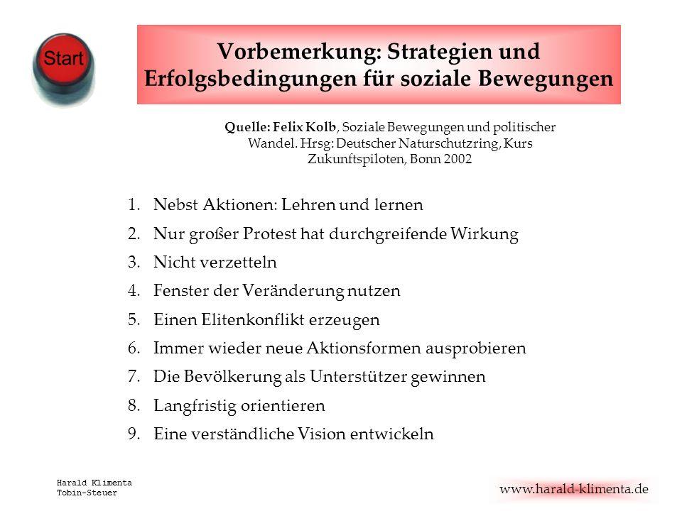 www.harald-klimenta.de Harald Klimenta Tobin-Steuer Vorbemerkung: Strategien und Erfolgsbedingungen für soziale Bewegungen 1.Nebst Aktionen: Lehren un