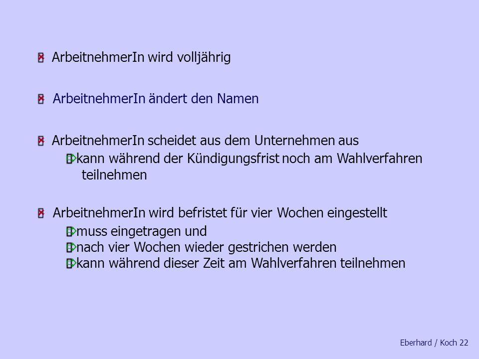 Eberhard / Koch 21 § 4 Abs. 3 Wahlordnung Der Betriebswahlvorstand berichtigt oder ergänzt die Wählerliste unverzüglich, wenn ein Arbeitnehmer in den