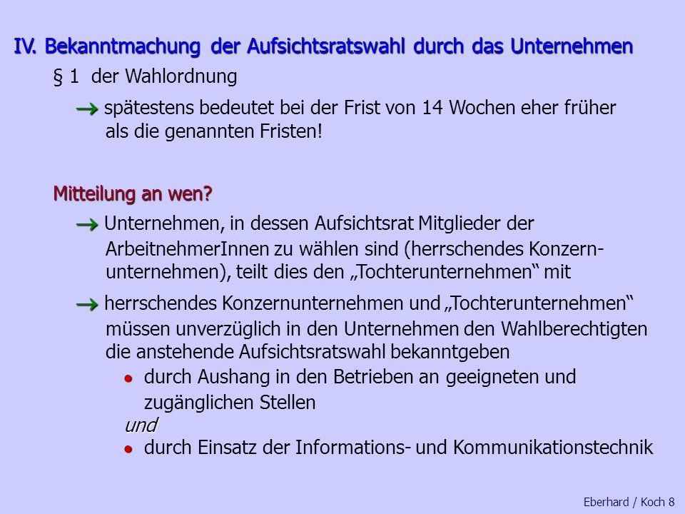 Die Wahlordnung zum Drittelbeteiligungsgesetz hat folgendes Schema: 1. Wahl der Aufsichtsratsmitglieder Kapitel 1 Einleitung der Wahl (Abschnitt 1) Wa