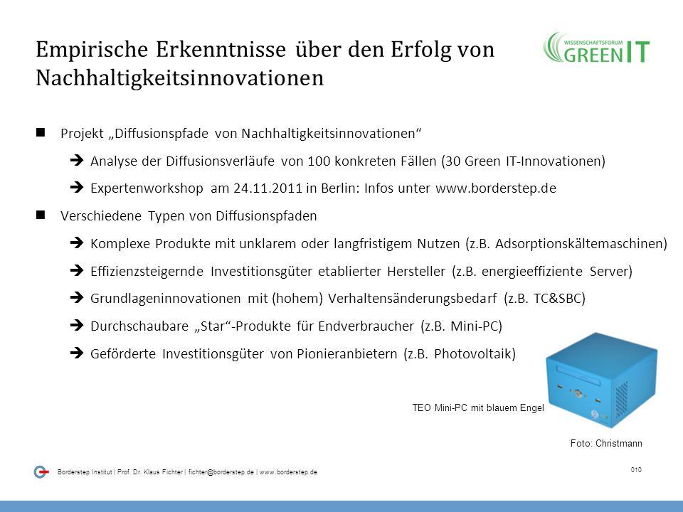 09 Borderstep Institut | Prof. Dr. Klaus Fichter | fichter@borderstep.de | www.borderstep.de Wie? Maßnahmen zur Gewinnung von Anwenderinformationen im