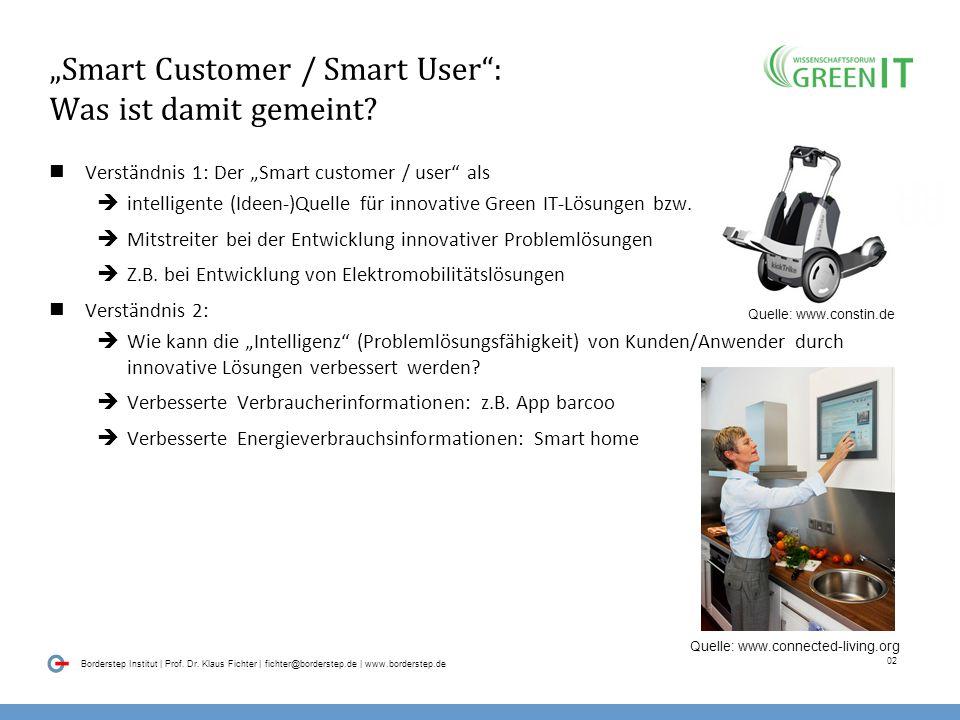 01 Borderstep Institut | Prof. Dr. Klaus Fichter | fichter@borderstep.de | www.borderstep.de Inhalt Smart Customer / Smart User: Was ist damit gemeint