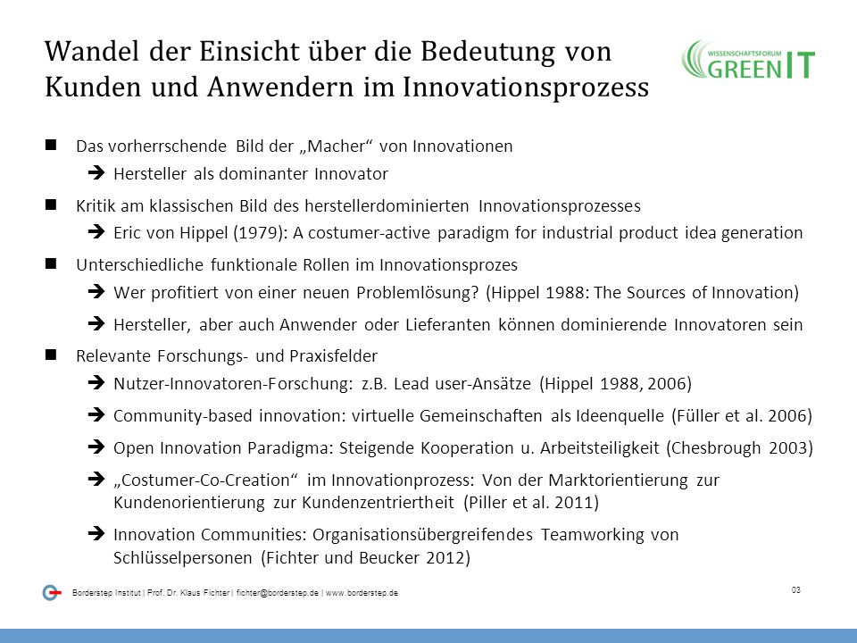 02 Borderstep Institut | Prof. Dr. Klaus Fichter | fichter@borderstep.de | www.borderstep.de Smart Customer / Smart User: Was ist damit gemeint? Verst