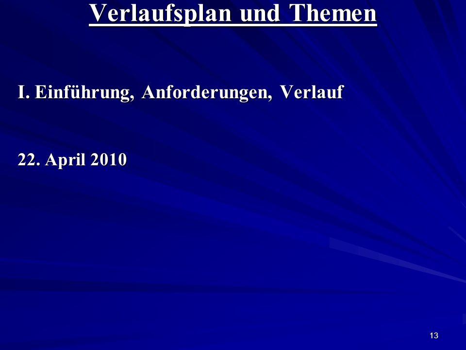 13 Verlaufsplan und Themen I. Einführung, Anforderungen, Verlauf 22. April 2010