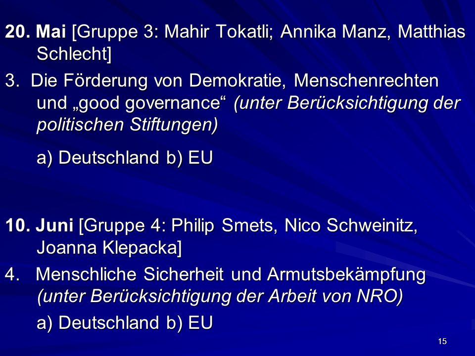 15 20. Mai [Gruppe 3: Mahir Tokatli; Annika Manz, Matthias Schlecht] 3. Die Förderung von Demokratie, Menschenrechten und good governance (unter Berüc