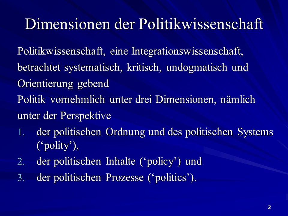 2 Dimensionen der Politikwissenschaft Politikwissenschaft, eine Integrationswissenschaft, betrachtet systematisch, kritisch, undogmatisch und Orientie