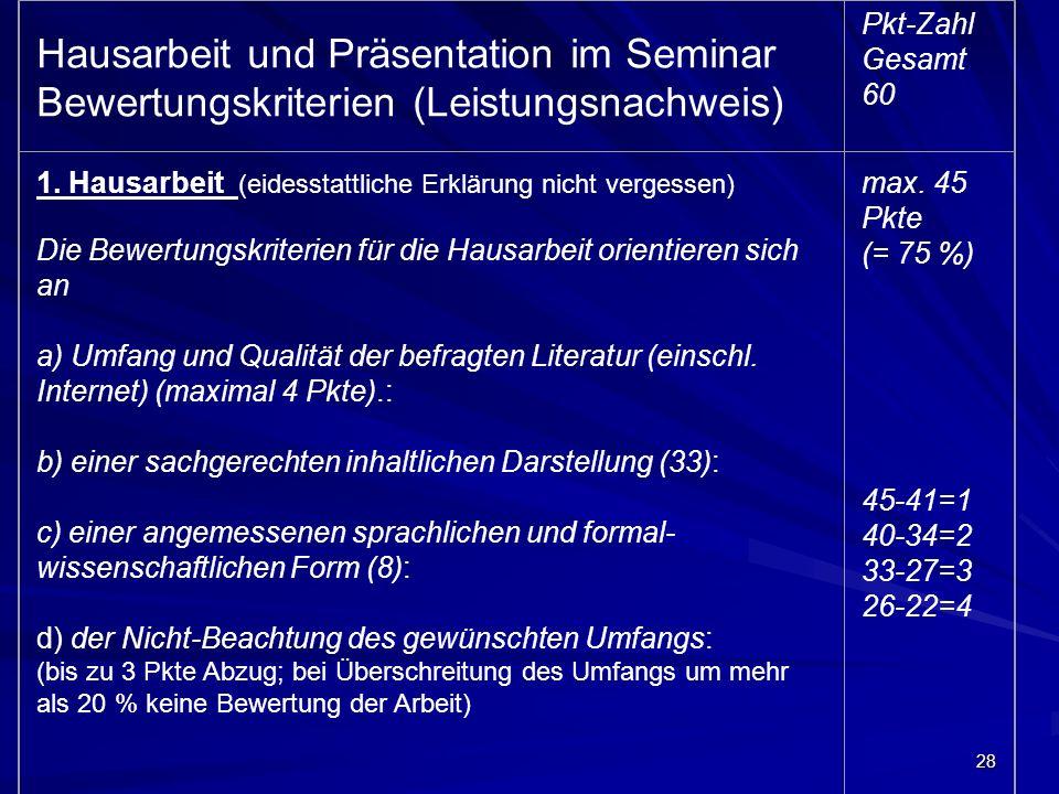 28 Hausarbeit und Präsentation im Seminar Bewertungskriterien (Leistungsnachweis) Pkt-Zahl Gesamt 60 1. Hausarbeit (eidesstattliche Erklärung nicht ve