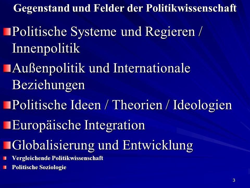 3 Gegenstand und Felder der Politikwissenschaft Politische Systeme und Regieren / Innenpolitik Außenpolitik und Internationale Beziehungen Politische