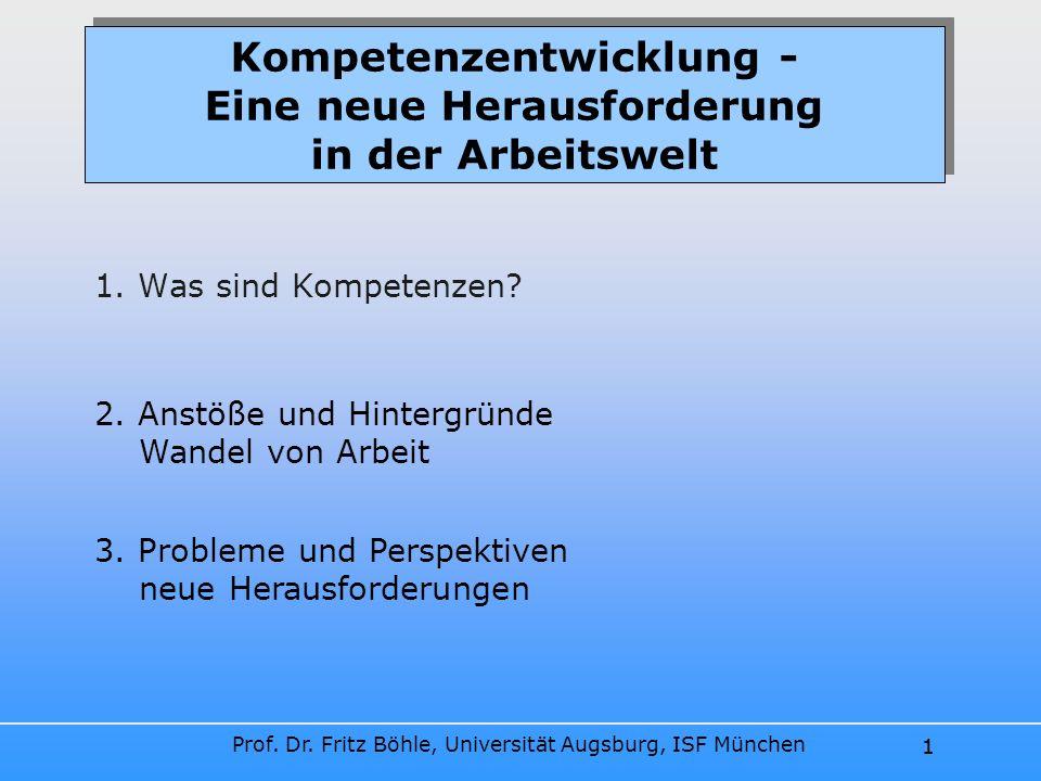 Prof. Dr. Fritz Böhle, Universität Augsburg, ISF München 1 Kompetenzentwicklung - Eine neue Herausforderung in der Arbeitswelt 1. Was sind Kompetenzen