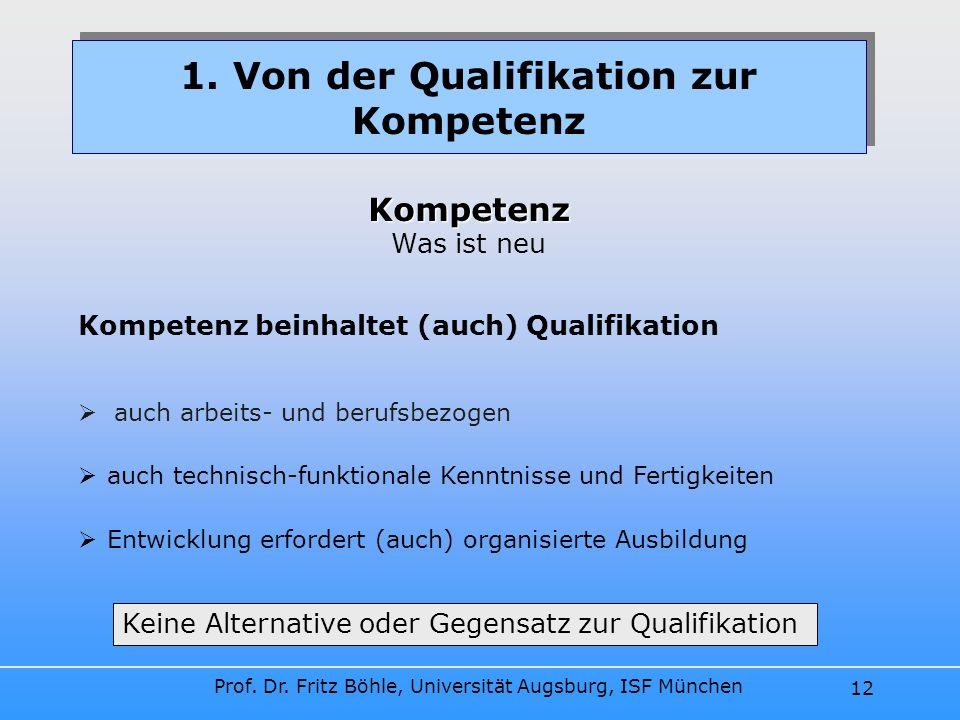 Prof. Dr. Fritz Böhle, Universität Augsburg, ISF München 12 auch arbeits- und berufsbezogen 1. Von der Qualifikation zur Kompetenz Kompetenz Kompetenz