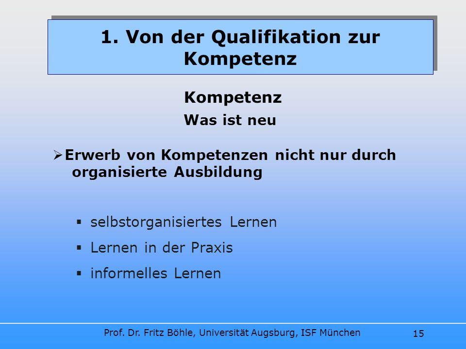 Prof. Dr. Fritz Böhle, Universität Augsburg, ISF München 15 selbstorganisiertes Lernen Lernen in der Praxis informelles Lernen 1. Von der Qualifikatio
