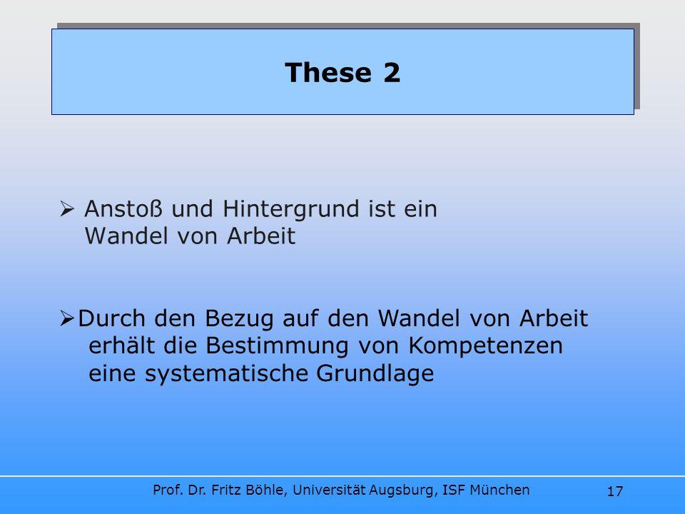 Prof. Dr. Fritz Böhle, Universität Augsburg, ISF München 17 Anstoß und Hintergrund ist ein Wandel von Arbeit These 2 Durch den Bezug auf den Wandel vo