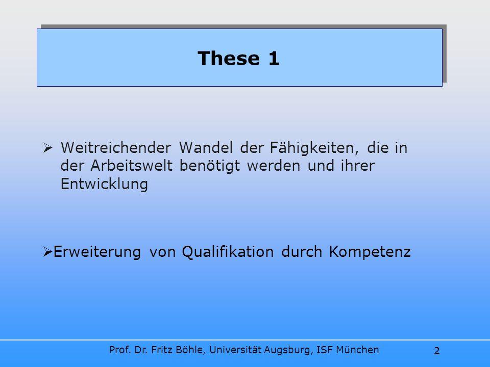 Prof. Dr. Fritz Böhle, Universität Augsburg, ISF München 2 These 1 Weitreichender Wandel der Fähigkeiten, die in der Arbeitswelt benötigt werden und i