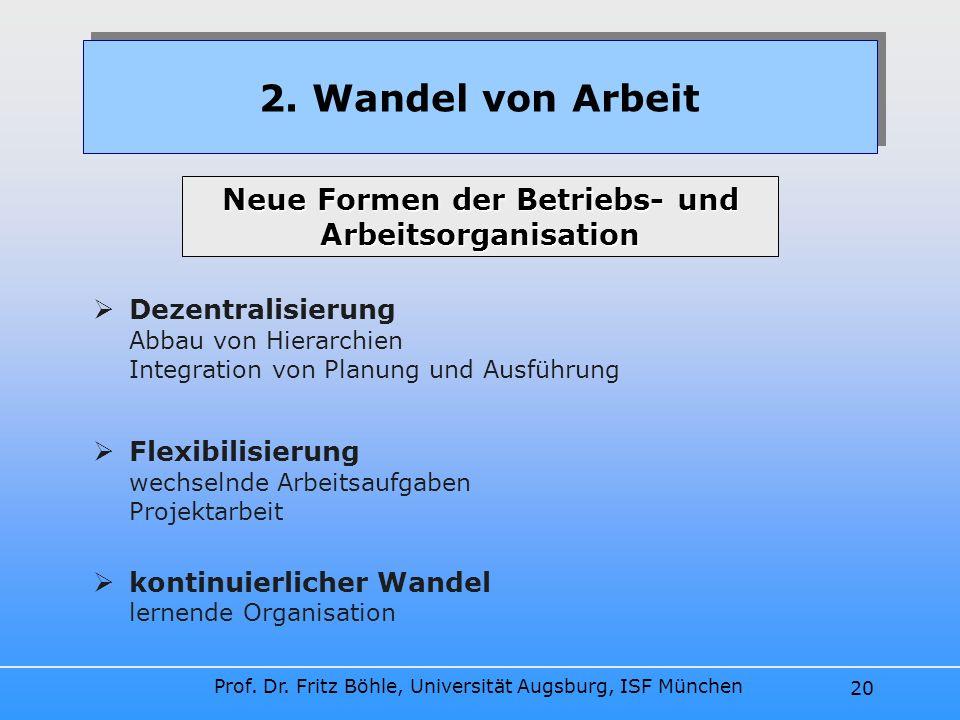 Prof. Dr. Fritz Böhle, Universität Augsburg, ISF München 20 Dezentralisierung Abbau von Hierarchien Integration von Planung und Ausführung Flexibilisi