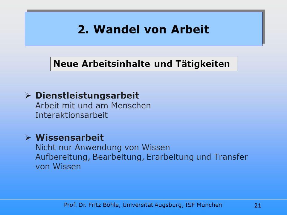 Prof. Dr. Fritz Böhle, Universität Augsburg, ISF München 21 Dienstleistungsarbeit Arbeit mit und am Menschen Interaktionsarbeit Wissensarbeit Nicht nu