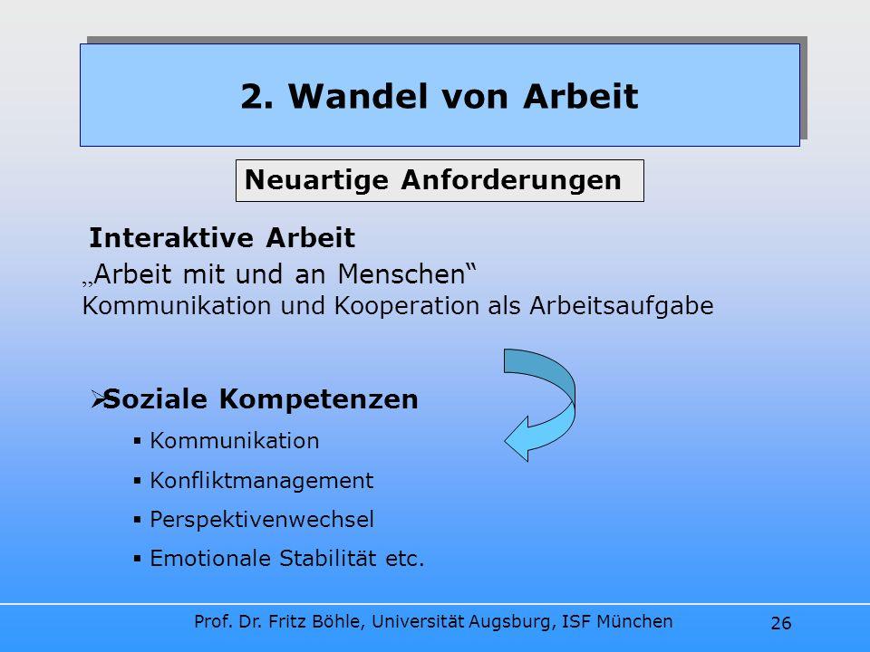 Prof. Dr. Fritz Böhle, Universität Augsburg, ISF München 26 2. Wandel von Arbeit Interaktive Arbeit Arbeit mit und an Menschen Kommunikation und Koope