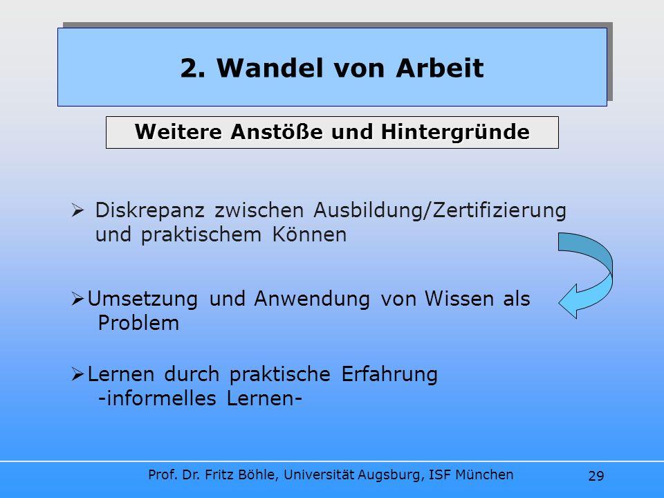 Prof. Dr. Fritz Böhle, Universität Augsburg, ISF München 29 Diskrepanz zwischen Ausbildung/Zertifizierung und praktischem Können 2. Wandel von Arbeit