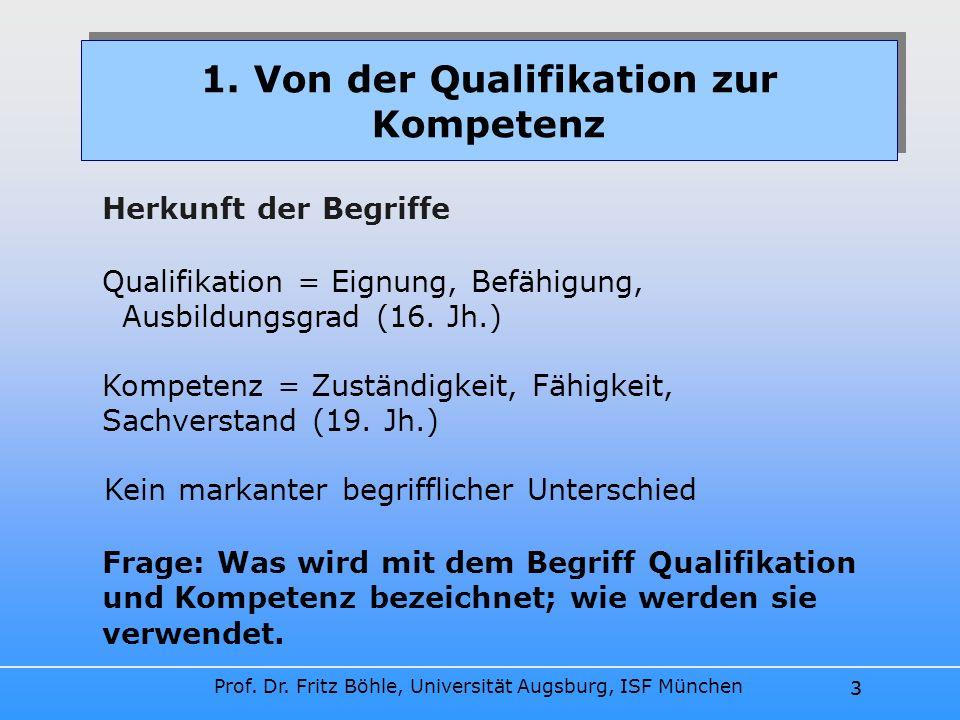 Prof. Dr. Fritz Böhle, Universität Augsburg, ISF München 3 1. Von der Qualifikation zur Kompetenz Herkunft der Begriffe 3 Qualifikation = Eignung, Bef