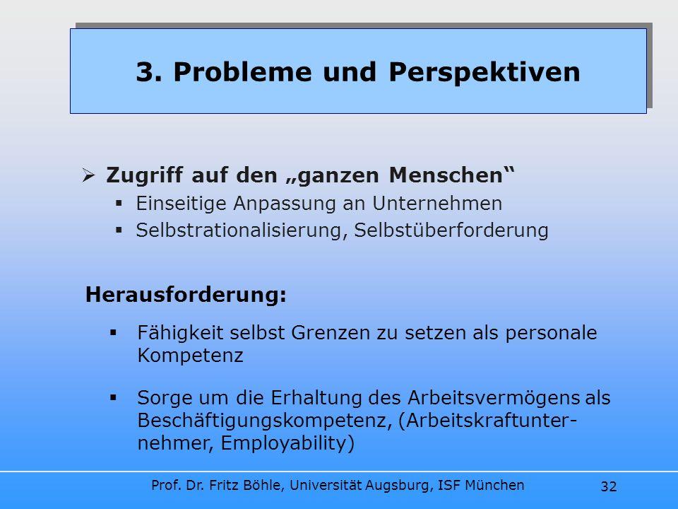 Prof. Dr. Fritz Böhle, Universität Augsburg, ISF München 32 Zugriff auf den ganzen Menschen Einseitige Anpassung an Unternehmen Selbstrationalisierung