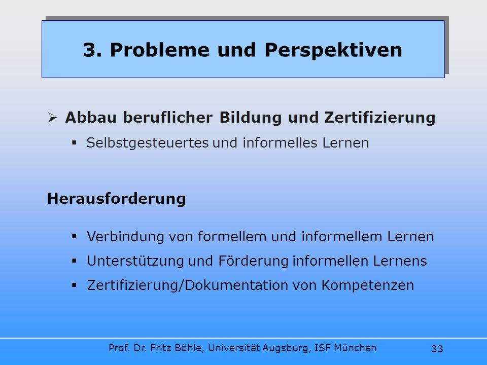 Prof. Dr. Fritz Böhle, Universität Augsburg, ISF München 33 Abbau beruflicher Bildung und Zertifizierung Selbstgesteuertes und informelles Lernen 3. P