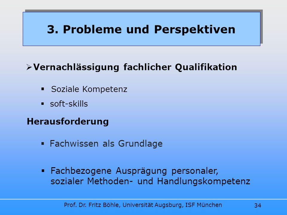 Prof. Dr. Fritz Böhle, Universität Augsburg, ISF München 34 Fachwissen als Grundlage 3. Probleme und Perspektiven Vernachlässigung fachlicher Qualifik