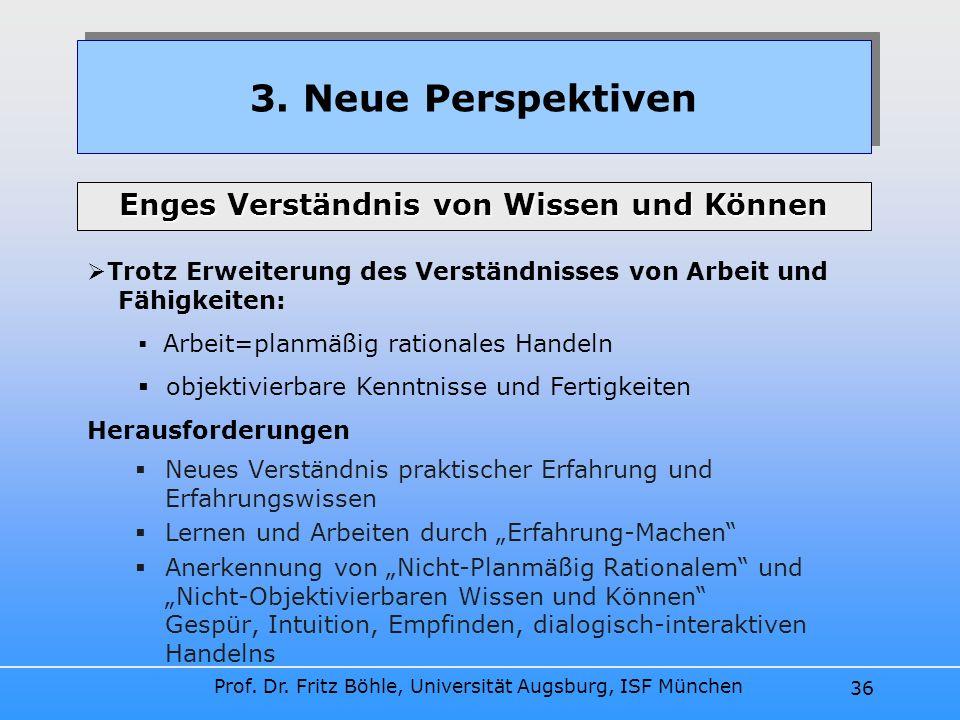 Prof. Dr. Fritz Böhle, Universität Augsburg, ISF München 36 Neues Verständnis praktischer Erfahrung und Erfahrungswissen Lernen und Arbeiten durch Erf