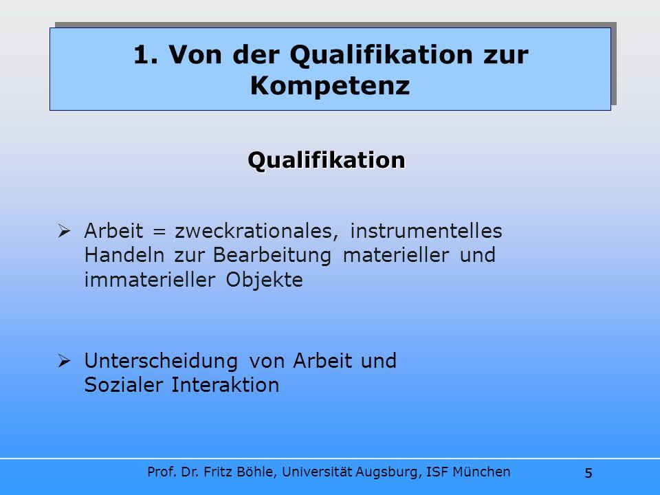 Prof. Dr. Fritz Böhle, Universität Augsburg, ISF München 5 Arbeit = zweckrationales, instrumentelles Handeln zur Bearbeitung materieller und immaterie