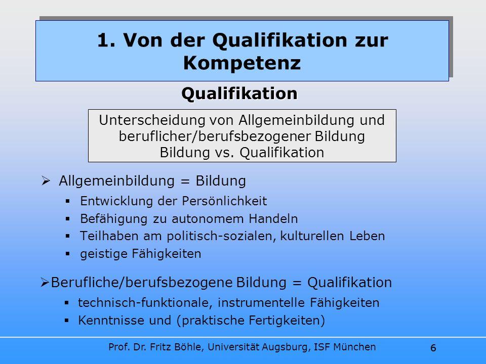 Prof. Dr. Fritz Böhle, Universität Augsburg, ISF München 6 Allgemeinbildung = Bildung Entwicklung der Persönlichkeit Befähigung zu autonomem Handeln T