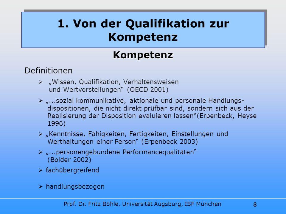 Prof. Dr. Fritz Böhle, Universität Augsburg, ISF München 8 Wissen, Qualifikation, Verhaltensweisen und Wertvorstellungen (OECD 2001) 1. Von der Qualif