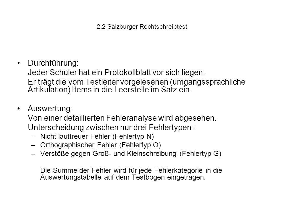 2.2 Salzburger Rechtschreibtest Durchführung: Jeder Schüler hat ein Protokollblatt vor sich liegen. Er trägt die vom Testleiter vorgelesenen (umgangss