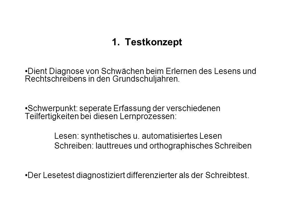 1. Testkonzept Dient Diagnose von Schwächen beim Erlernen des Lesens und Rechtschreibens in den Grundschuljahren. Schwerpunkt: seperate Erfassung der