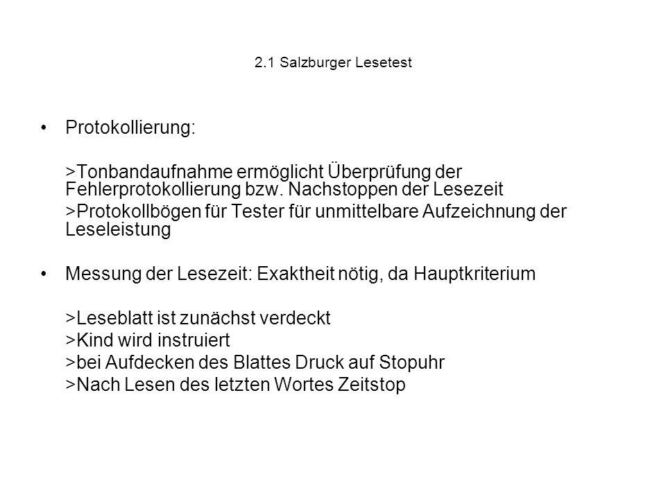 2.1 Salzburger Lesetest Protokollierung: >Tonbandaufnahme ermöglicht Überprüfung der Fehlerprotokollierung bzw. Nachstoppen der Lesezeit >Protokollbög