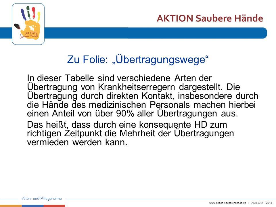 www.aktion-sauberehaende.de | ASH 2011 - 2013 Alten- und Pflegeheime Zu Folie: Übertragungswege In dieser Tabelle sind verschiedene Arten der Übertrag