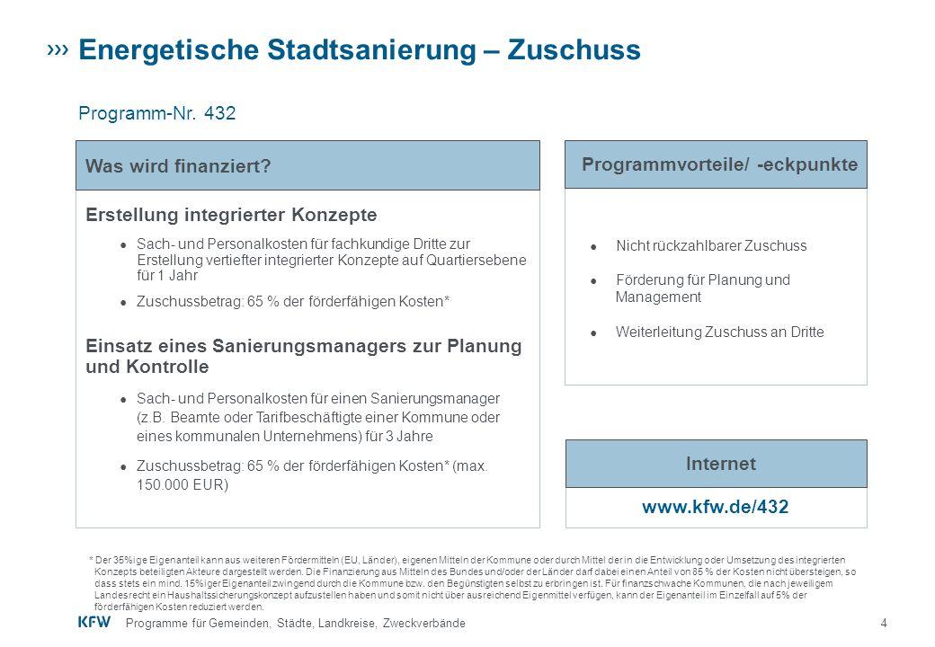 5Programme für Gemeinden, Städte, Landkreise, Zweckverbände IKK - Energetische Stadtsanierung – Quartiersversorgung Programm-Nr.