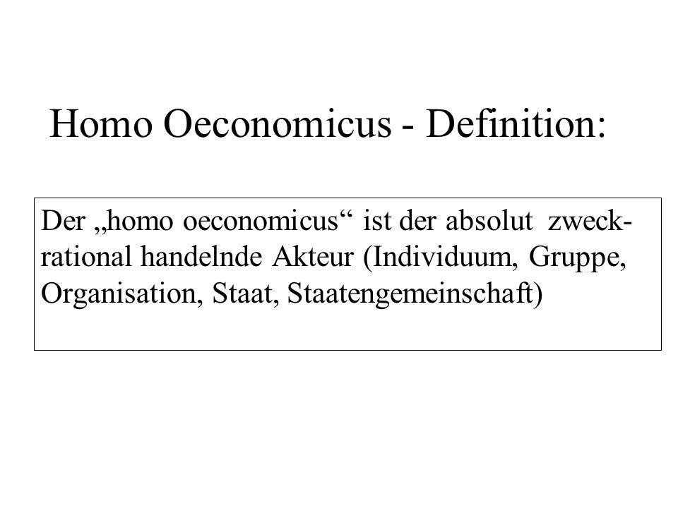 Zwei Hauptmerkmale zweckra- tionalen Handelns (und damit des homo oeconomicus): Vollkommene Information über die Bedingungen, Möglichkeiten und Folgen des Handelns (Besitz und Nutzung) Zielsetzung der Maximierung eigenen Nutzens bei Minimierung des Aufwands (Minimax-Prinzip / Ökonomisches Prinzip)