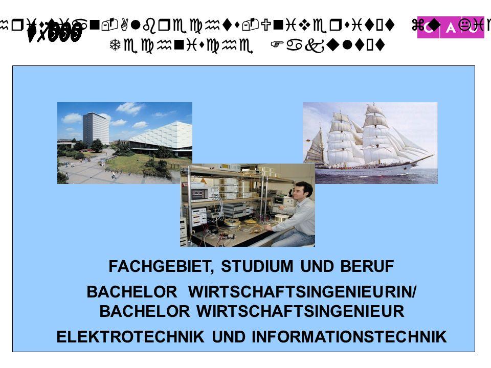 Christian-Albrechts-Universität zu Kiel Technische Fakultät 1 FACHGEBIET, STUDIUM UND BERUF BACHELOR WIRTSCHAFTSINGENIEURIN/ BACHELOR WIRTSCHAFTSINGEN