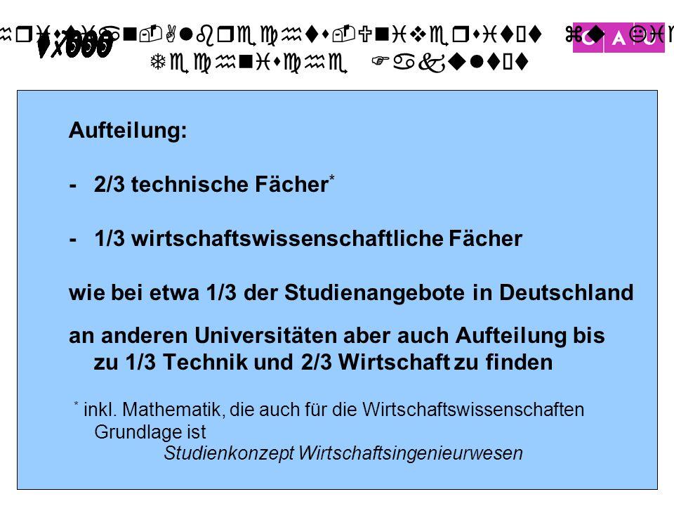 Christian-Albrechts-Universität zu Kiel Technische Fakultät 10 Studienkonzept Wirtschaftsingenieurwesen Aufteilung: -2/3 technische Fächer * -1/3 wirt
