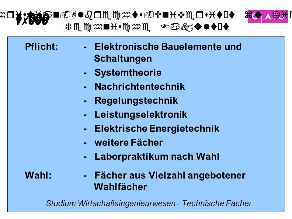 Christian-Albrechts-Universität zu Kiel Technische Fakultät 11 Studium Wirtschaftsingenieurwesen - Technische Fächer Pflicht:- Elektronische Bauelemen