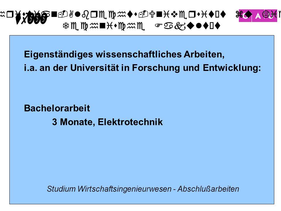 Christian-Albrechts-Universität zu Kiel Technische Fakultät 13 Studium Wirtschaftsingenieurwesen - Abschlußarbeiten Eigenständiges wissenschaftliches