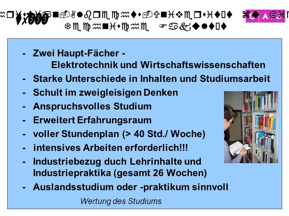 Christian-Albrechts-Universität zu Kiel Technische Fakultät 14 -Zwei Haupt-Fächer - Elektrotechnik und Wirtschaftswissenschaften -Starke Unterschiede